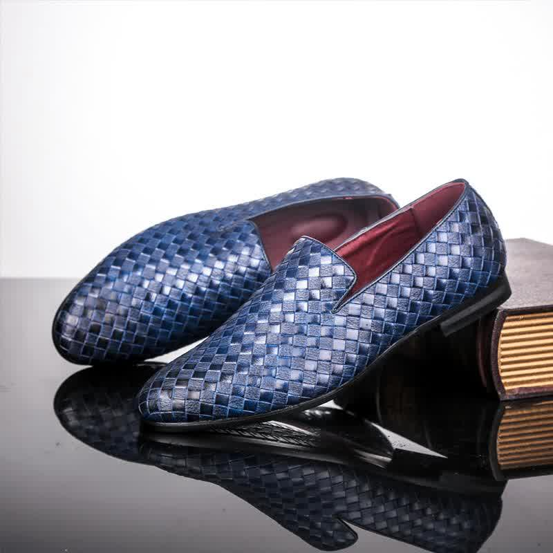 Spring Weave Solid Men Loafers Leather Shoes