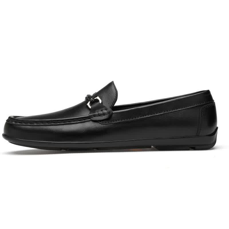 Fashion men's shoes casual genuine leather cowhide loafers male classic white black slip on shoe