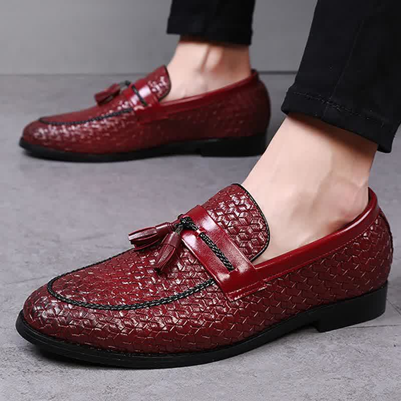 Large Size 38-48 Tassel Plaid Men New Loafers Weaving Comfortable Soft Mens Leisure Leather Shoes