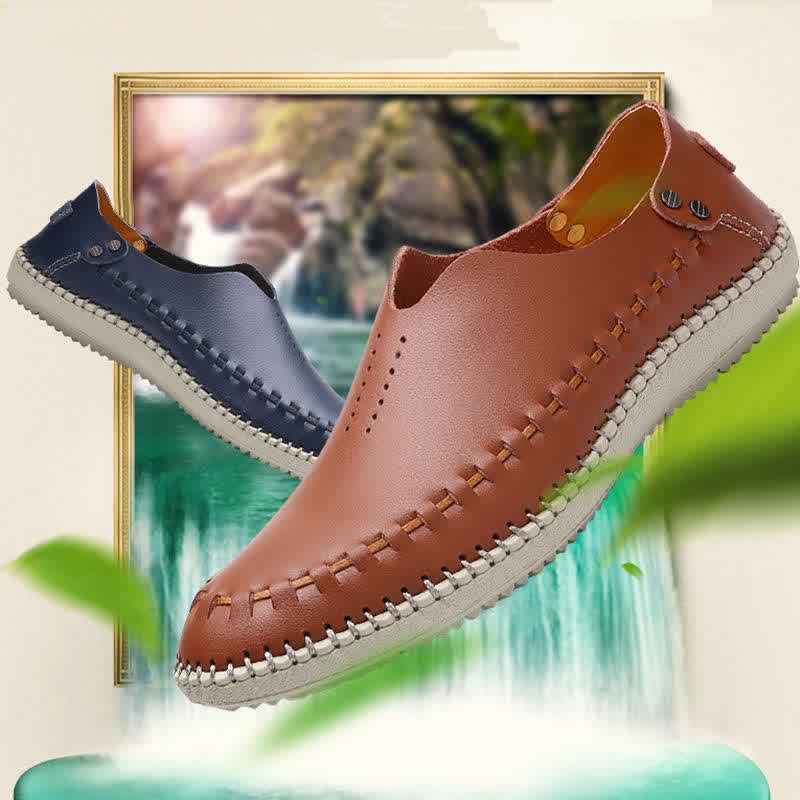 New Summer Men Loafers Genuine  Causal Leather Shoes