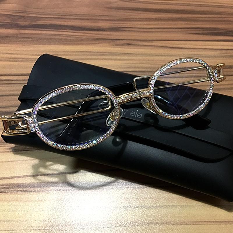 Clear lens Rhinestone sunglasses