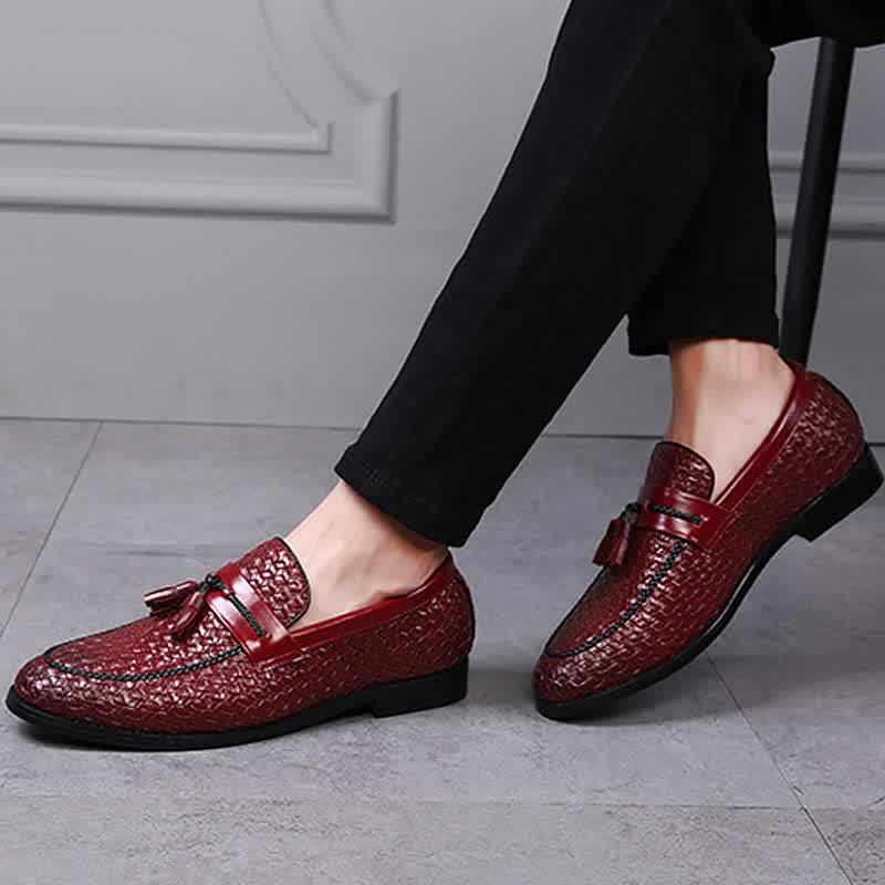 Weaving comfortable soft mens leather shoes