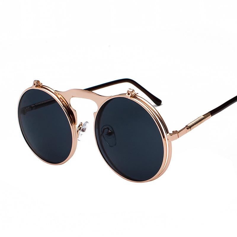 Metal frame black sun glasses