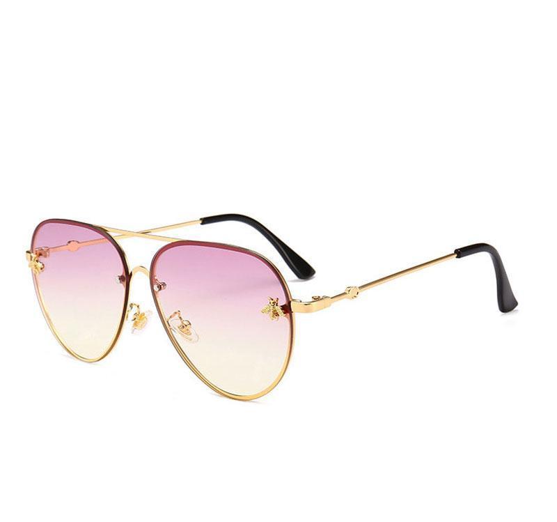 Fashion metal Oversized sunglasses vintage female male