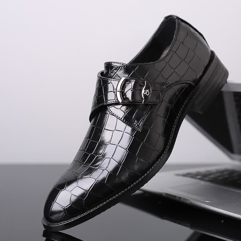 Leather Shoes Men Buckle Strap Gingham Driving Shoes
