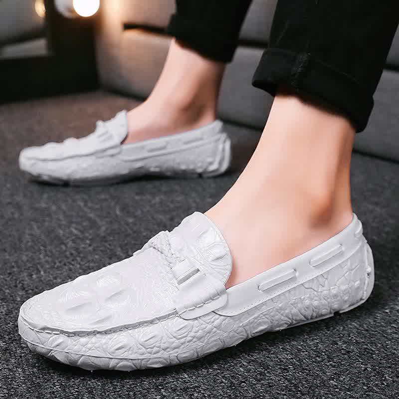 Man Autumn Casual Loafer Shoes PU Leather Round Toe Sewing Comfortable Solid Color Slip On Flats Male Shoes