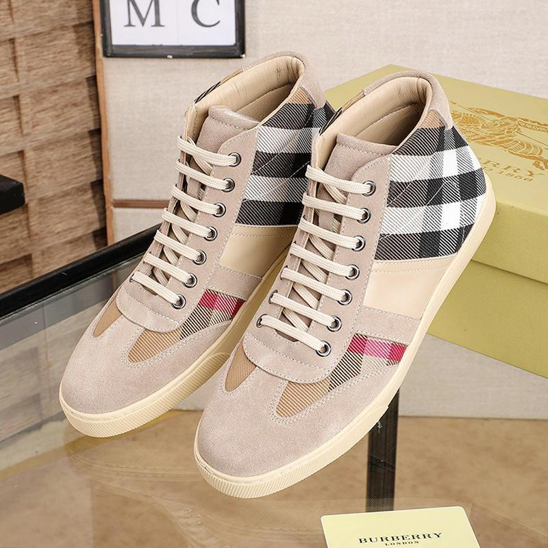 Mens High Top Vintage Check And   Leather Sneakers