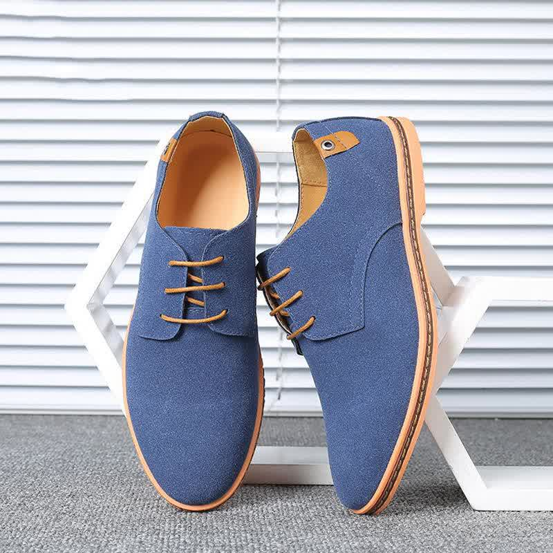 Spring Suede Leather Men Solid Casual Shoes