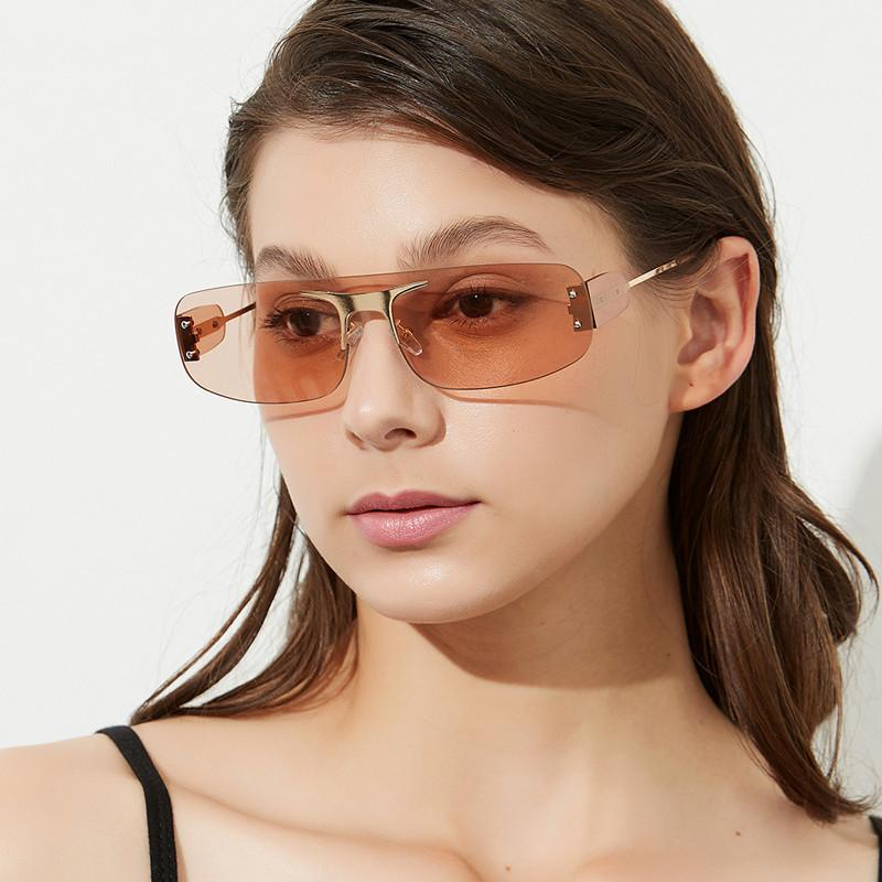 Colorful for Men Women Square Flat Top Vintage Sunglasses One-piece Rimless Sun Glasses Eyeglasses