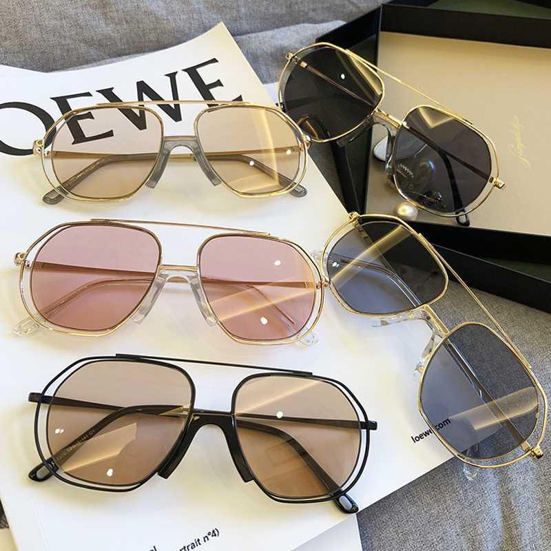 Chic Vintage Hollow Alloy Frame Oval Sunglasses For Women Ins Light Black Sun Glasses Men Hip Hop Eyewear