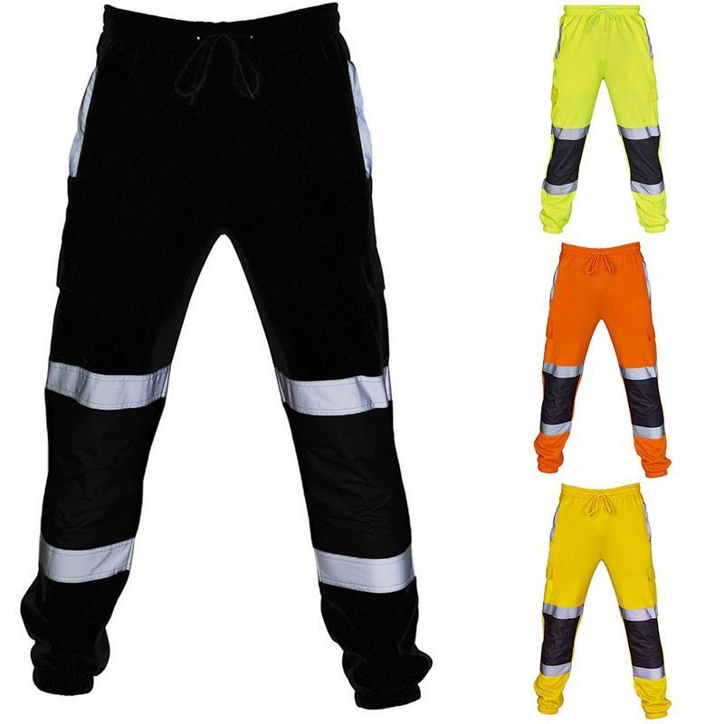 Men Road Work High Visibility Overalls Casual Pocket Work Pants