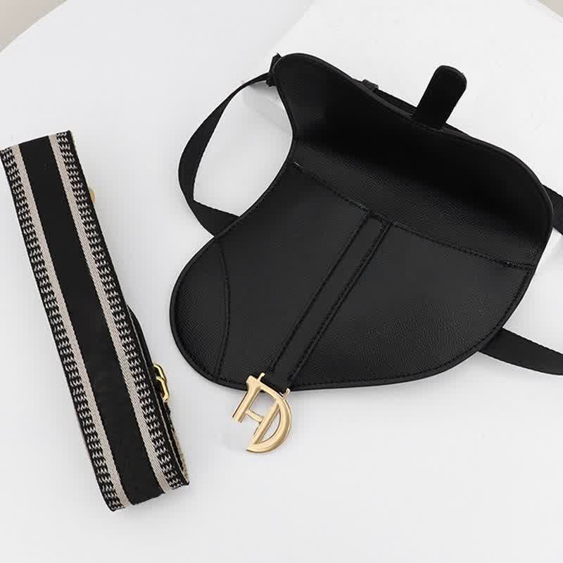 Crossbody Bags Women Black Cow Leather Belt New Saddle Bags