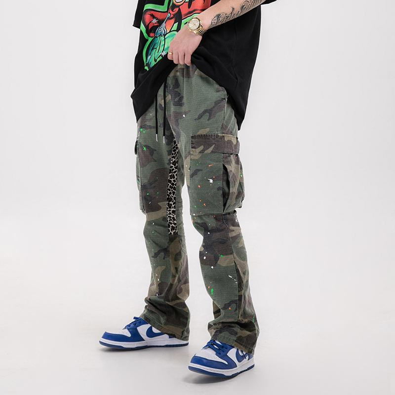 Men Distressed Camouflage Splash Flared Pants
