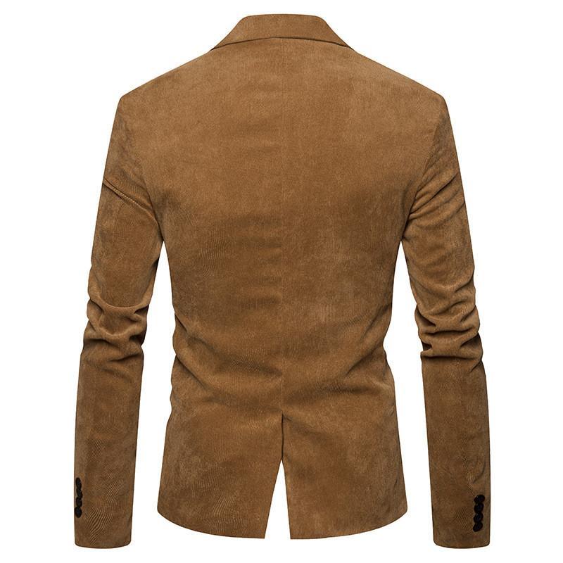 Fashion V  Neck Long Sleeve Mens Corduroy Blazer