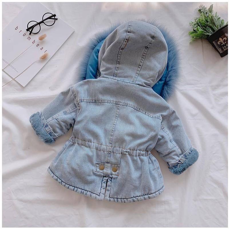Girls Winter Thicken Coats  Denim Hooded Coat Kids Fur Collar Cotton  Baby  Outwear