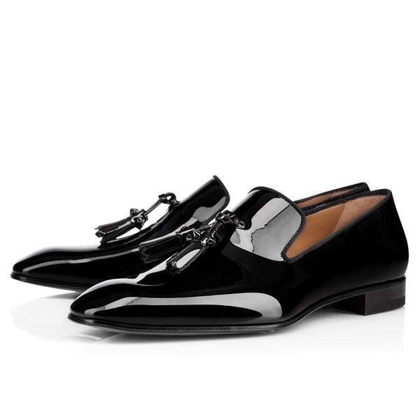 New mens loafers shoes red bottoms black white brown Bred suede Patent Leather Rivets glitter fashion Dress Wedding Business size 39-47