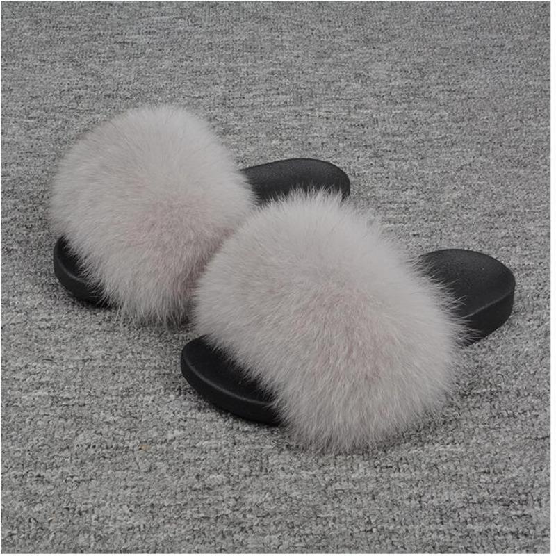 Winter Women's Plush Slippers Indoor Furry Home Shoes Warm Fox Fur Slippers For Women Slides Flip Fluffy Sandals