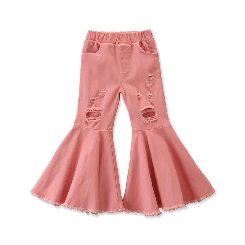 Girls Jeans Toddler  Kids  Girls Clothes Bell Bottom Hole Ripped Ruffles Flare Denim  Pants Trousers