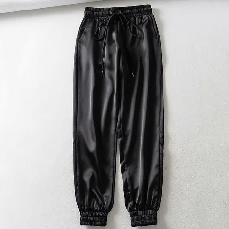 Female Summer Satin Cargo Pants Women Europe Loose Casual Sport Women Joggers Streetwear Cargo Pants Women