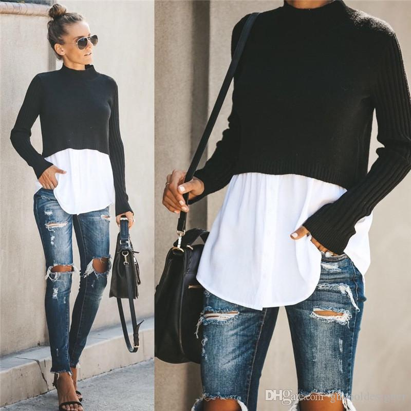 Autumn Womens Designer Panelled Sweaters Fashion Crew Neck Tops with Button Female Sexy Pullover Clothing