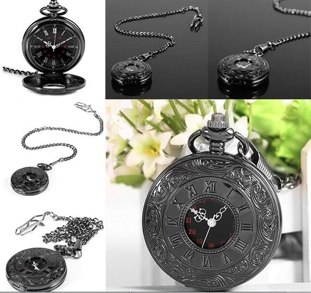 Hot Retro Roman Antique Punk Style Quartz Necklace +Pendant Fashion Jewelry Pocket Watch Arabic &Amp ;Roman Numerals Black