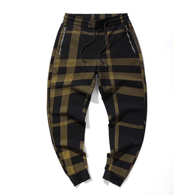Men's casual pants men's  trend versatile spring and summer thin corset check pants