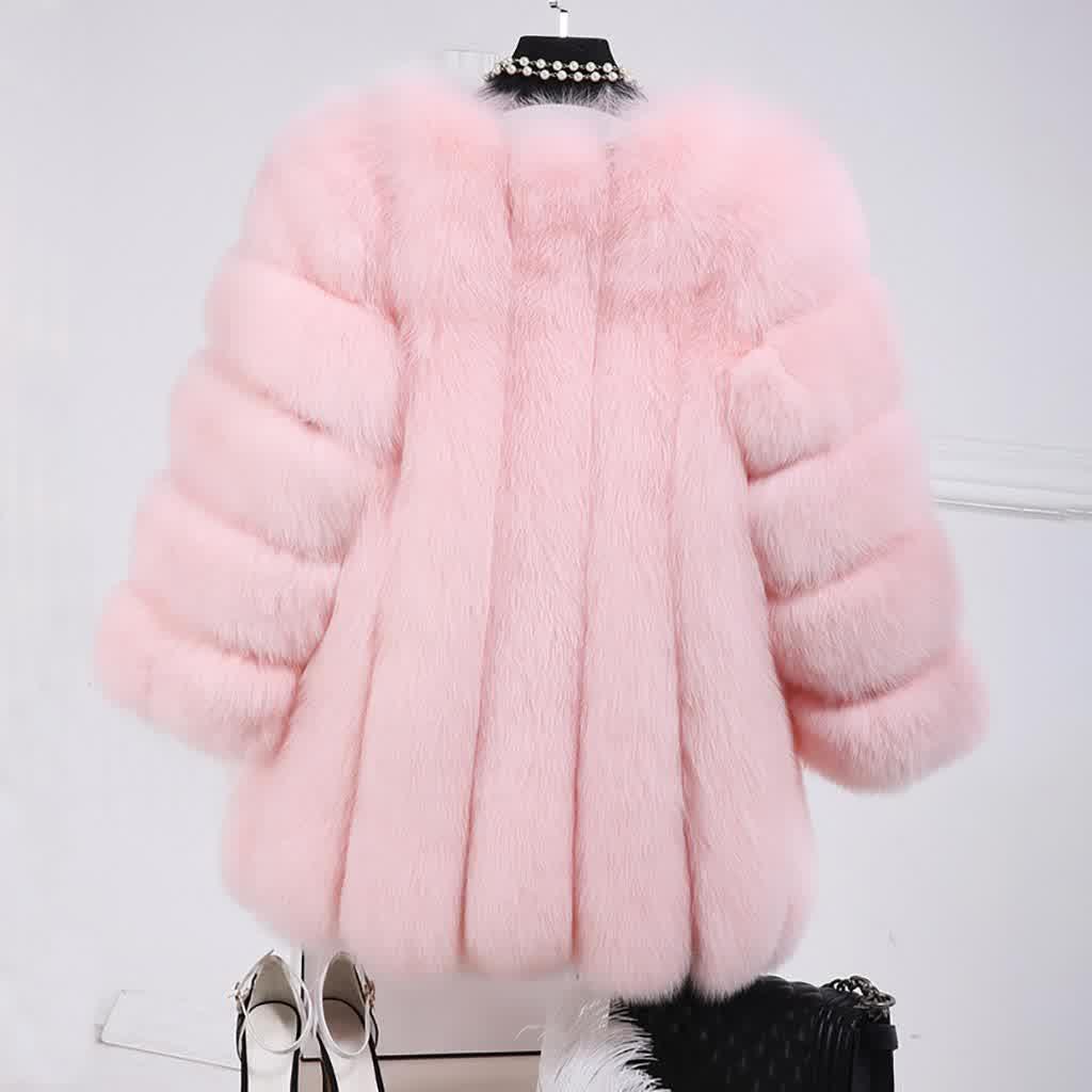 Top Fashion Pink Faux Fur Coat Elegant Thick Warm ...