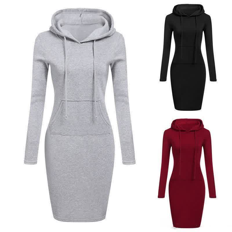 Women Knee Length Casual Hooded Pencil Hoodie Long Sleeve Sweater Pocket Bodycon Tunic Dress