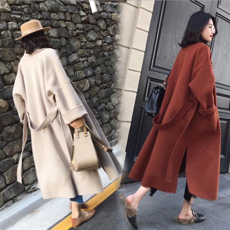 Womens Coat with Belt extra Long Warm Winter hipster jacket coats womens outerwear overcoat oversized wool coat