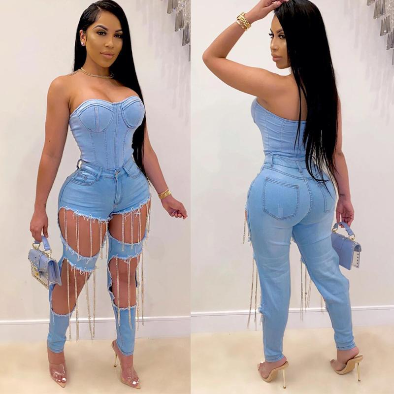 HHDMV summer women 2020 fashion hot sale reduction of age hip hop style long pants buttons high waist broken hole long pants