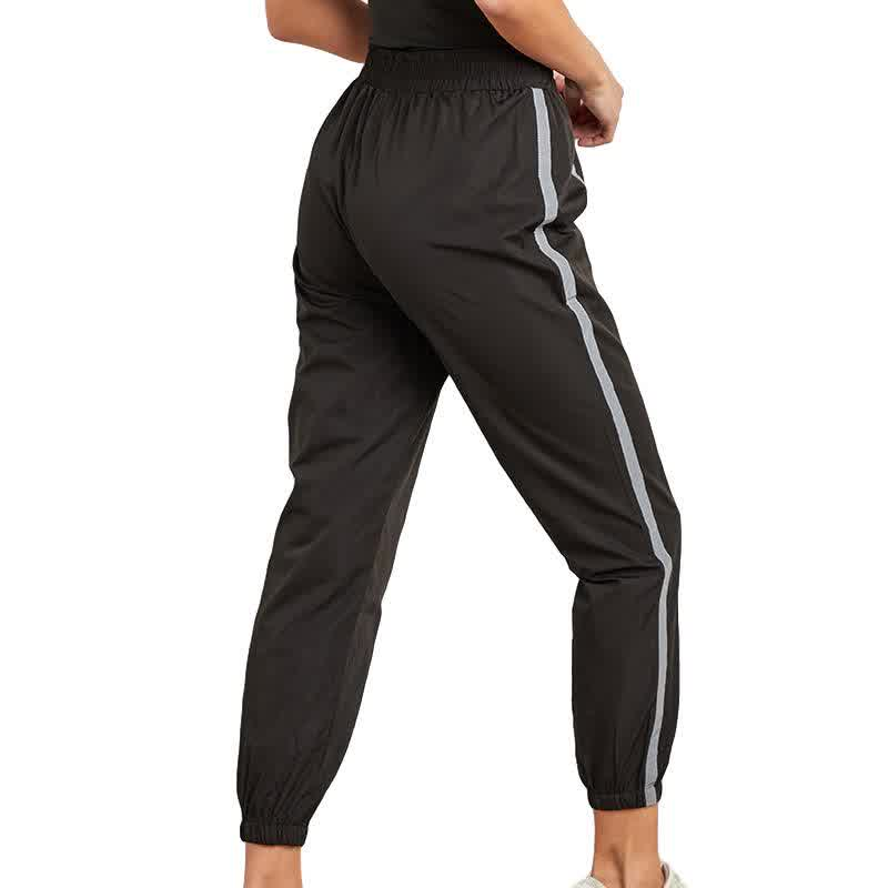 Amylynn Night Running Casual Pants Women'S Reflective Strip Stitching Feet Loose Long Black Summer Thin Section