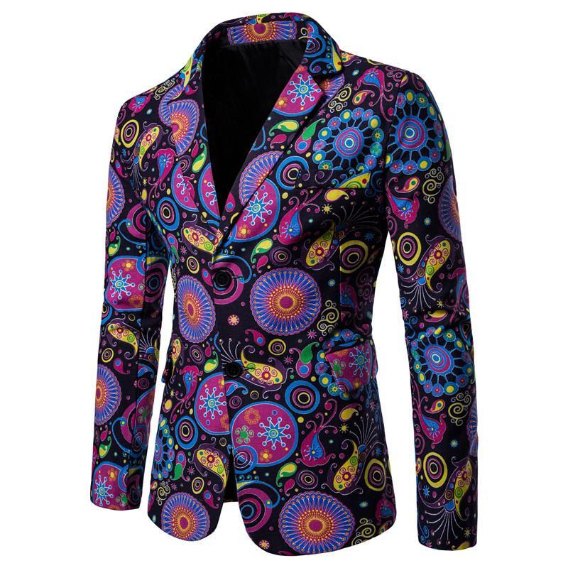 African Style Linen Men Blazer Slim Fit Character Pattern Printed Jacket for Men Fashion Designs Suit Blazers Male Coat