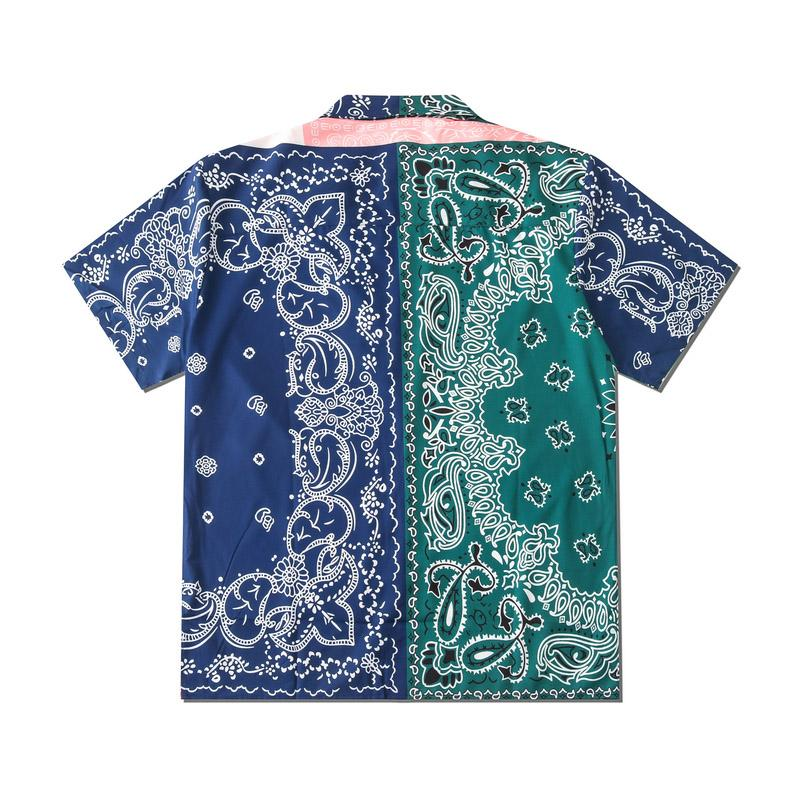 Europe America Spring Summer Men Women cool patchwork Bandanna Paisley beach Shirt Short Sleeve shirt Casual Hip Hop Tee