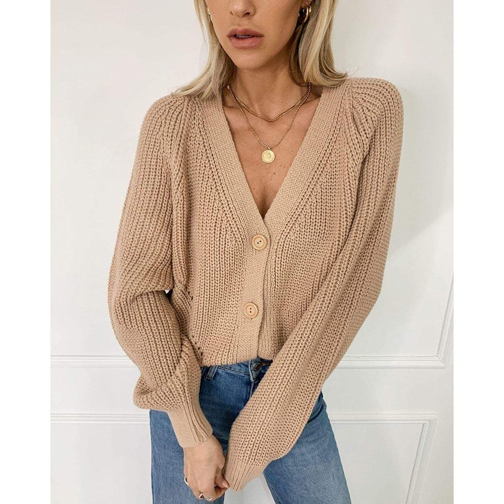 Cardigan Sweaters Tops Women Autumn New Knitted Loose Casual Solid Color V Neck Lantern Sleeves Button Jacket Wholesale New