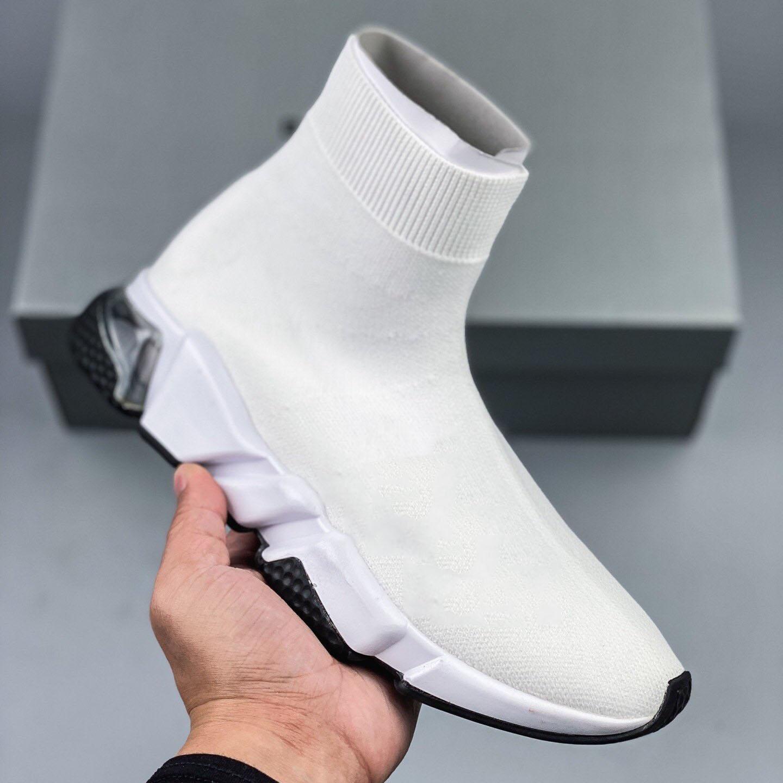 New Paris Speed Trainer Runner Sock clear sole Gypsophila Triple Black Platform Flat Men Women stretch knit Casual Shoes Sport Sneaker