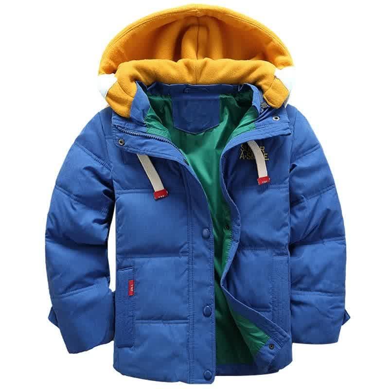 Kids Hooded Jacket Baby Boy clothes Boys Winter Coat Children Plus Velvet Jacket 5-10 years old Children's fashion down clothes 201023
