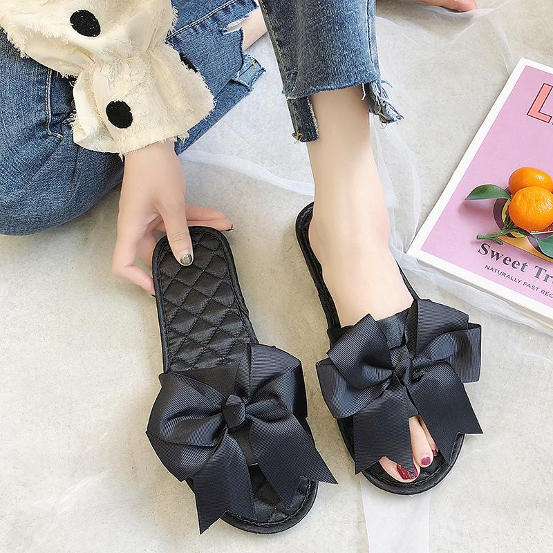 Korean style women's bow slippers low heel one-line flat slippers women's outing sandals