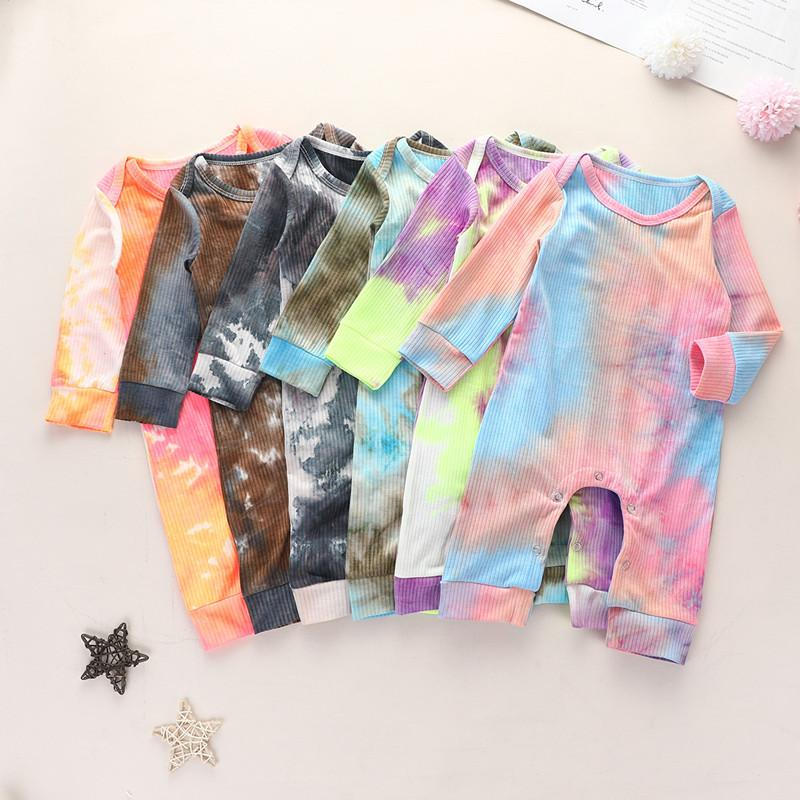 Baby Boys Girls Born Jumpsuits Tie-dyed Clothing Long Sleeve Autumn Romper 2020 New Fashion Designer Clothes