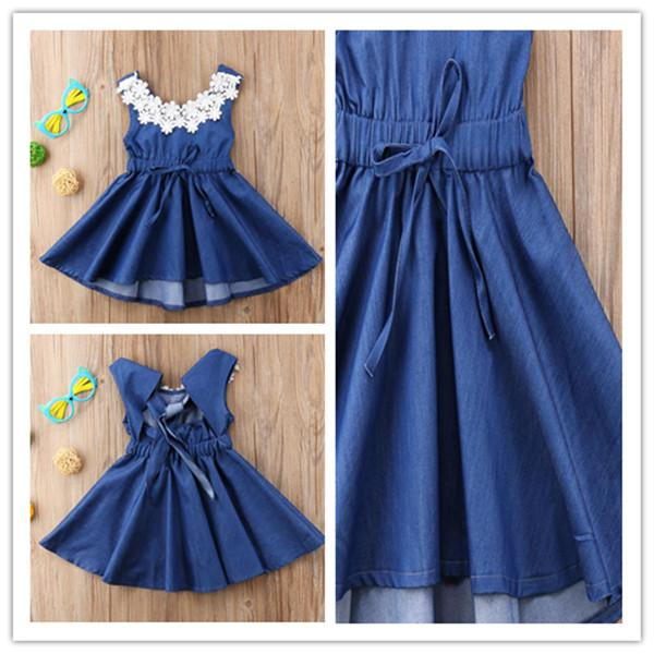INS Summer Girls Skirt Sleeveless Soft Denim Dress Lace Neck Designer Blue Color Backless Dress Kids Girls Party Birthday Clothes Gift LY708
