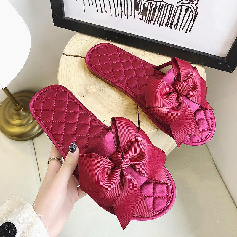 2020 new Korean style women's bow slippers low heel one-line flat slippers women's outing sandals