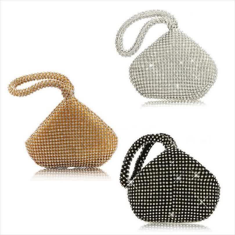 Evening Bags High Quality Fabric Rhinestone Womens Triangle Glitter Handbag