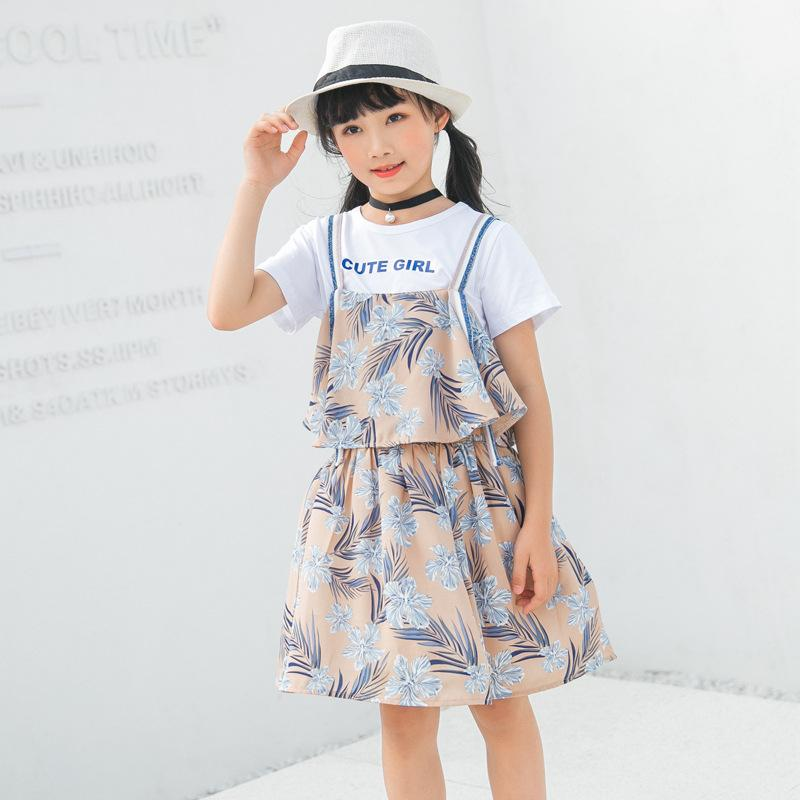 Girl's skirt suit with halter skirt floral print beach skirt with cotton material cuhk children's holiday style lovely dress