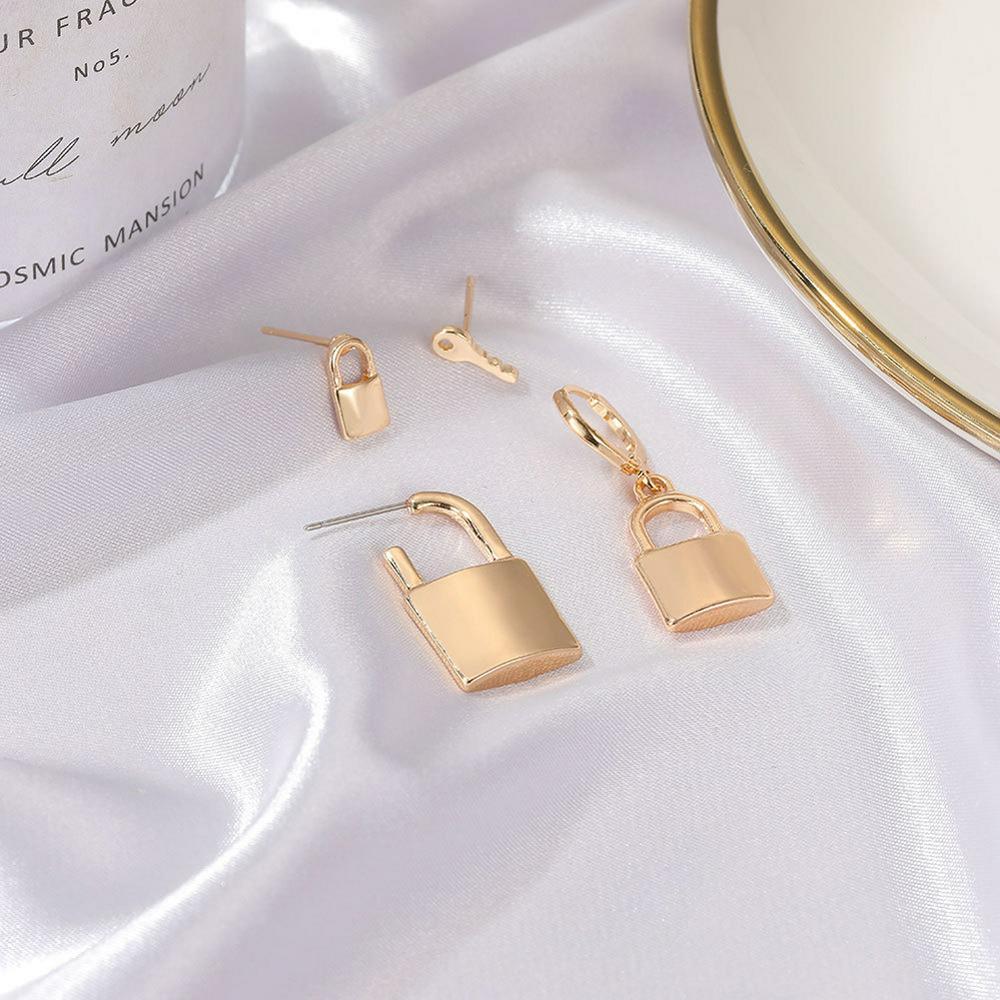 4 Pcs/set  Women's  Earrings Key Lock Shape Earrings Set Golden