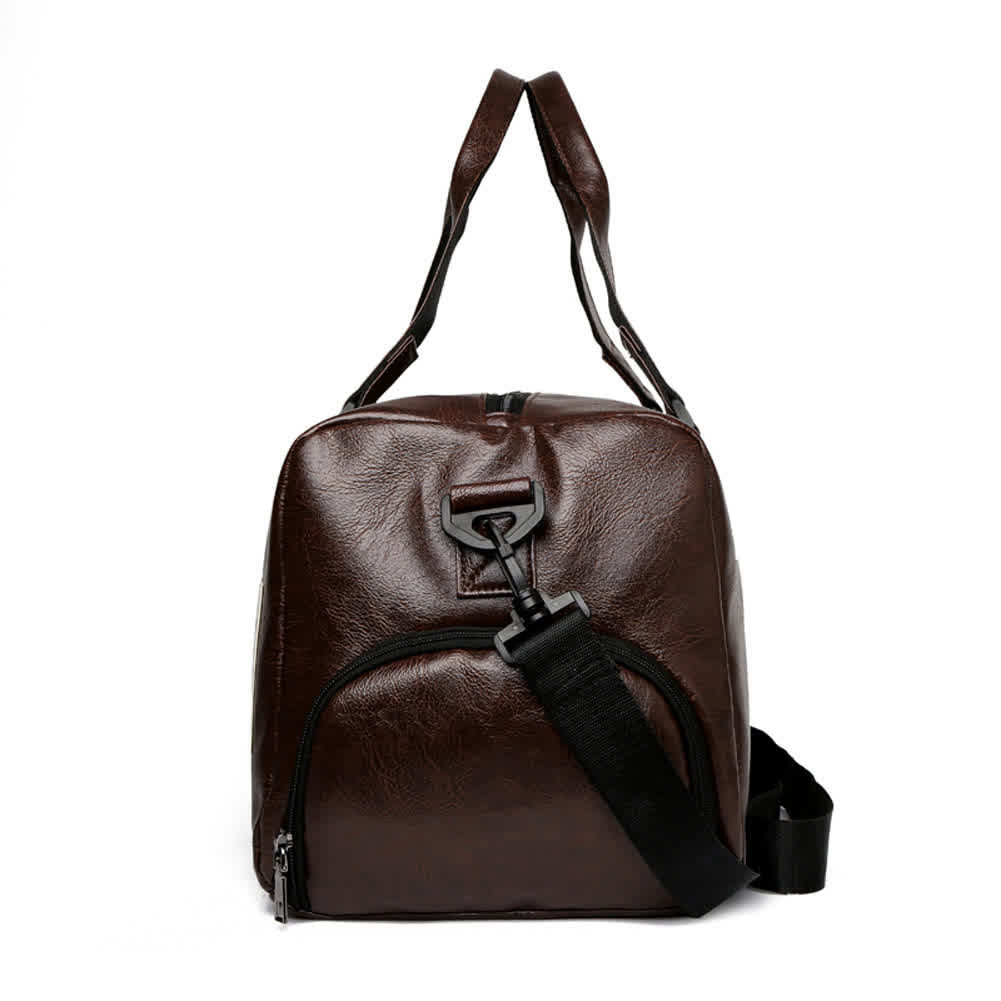 Men's Travelling Bag PU Waterproof Gym Yoga Sports Portable Travel Bag brown#_24 inches