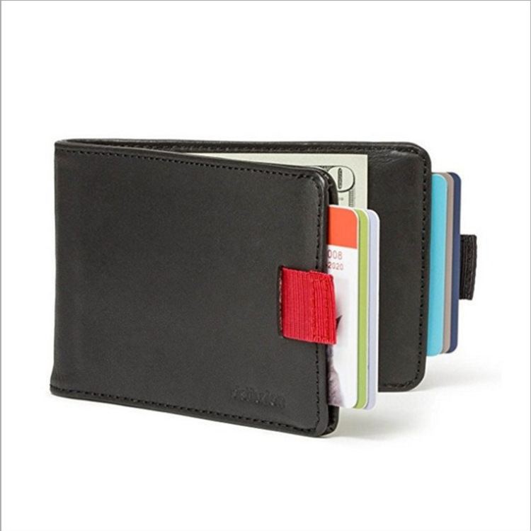 Men's Wallet Leather Pull-out 2 Folding Card Holder Wallet brown