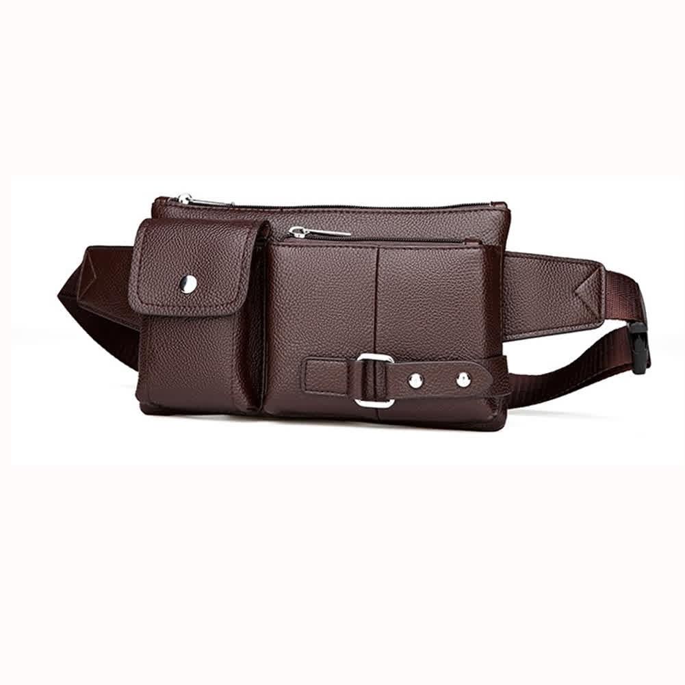 Men Phone Waist Bag Pu Single Shoulder Bag Satchel for Outdoor Sports Brown