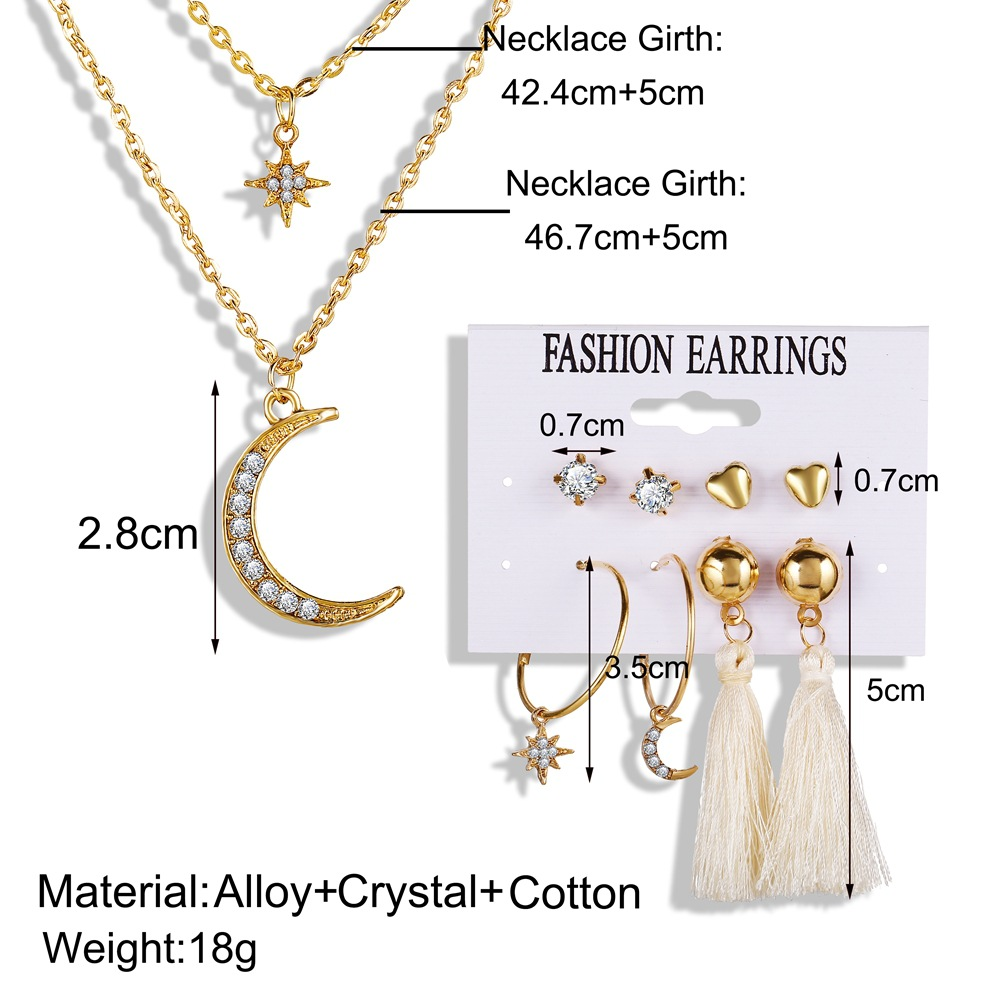 5 Pcs/set Jewelry Sets Alloy Tassel Star and Moon Shape Earrings + Necklace