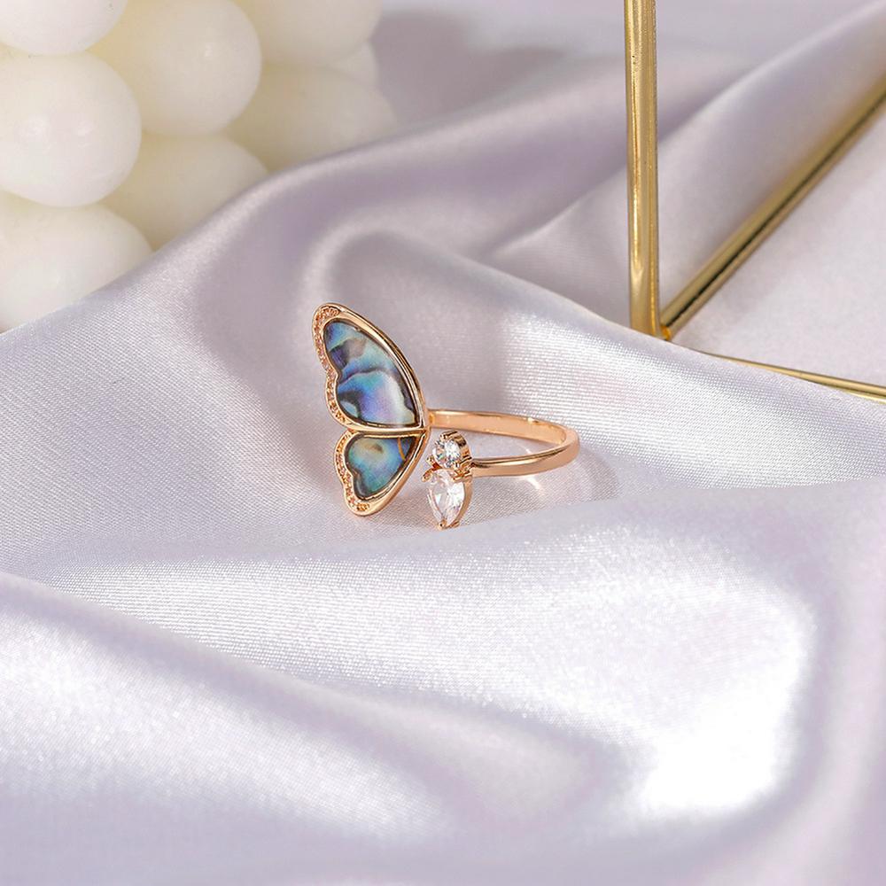 Women's Ring Seashell Wings Shape Micro-inlaid Zircon Open Ring Golden