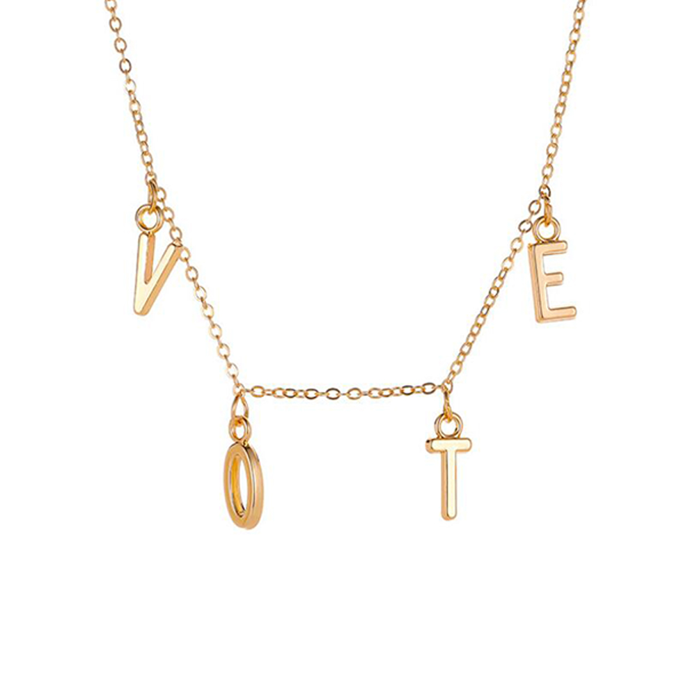 Women's  Necklace  Simple Style  Letter Pendant  Alloy  Clavicle Chain Silver