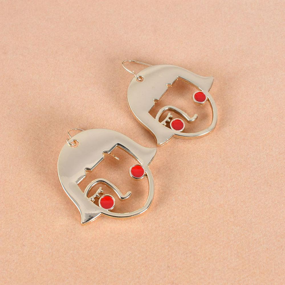 1 Pair of Women's Earrings Exaggerated Geometric Cartoon Earrings Golden